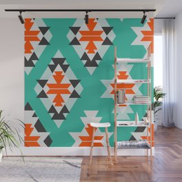 Triangles and diamonds in mint Wall Mural