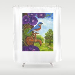 Bluebird and Rusty Faucet Shower Curtain