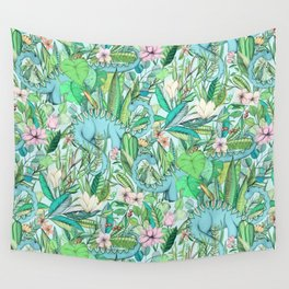 Improbable Botanical with Dinosaurs - soft pastels Wall Tapestry