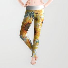 Loose Watercolor Sunflowers Leggings