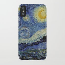 The Starry Night by Vincent van Gogh 1889 // Abstract Brush Stroke Detail Mountains Stars City Scene iPhone Case