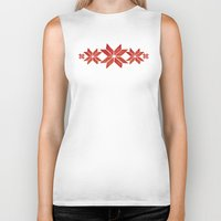 scandinavian Biker Tanks featuring Scandinavian inspired print with red mini stars by Jennifer Rizzo Design Company
