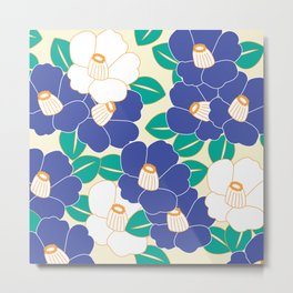 Japanese Style Camellia - Blue and White Metal Print