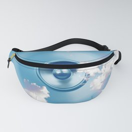 Spinning music speaker with clouds Fanny Pack