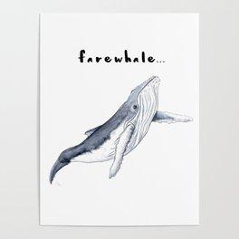 Farewhale Humour Whale Farewell Goobye design Poster