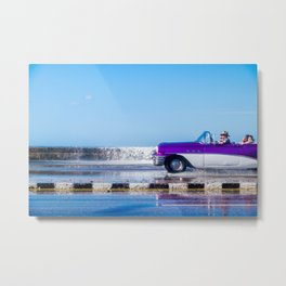 Waves and Classic Cars of the Malecón - 4 Metal Print