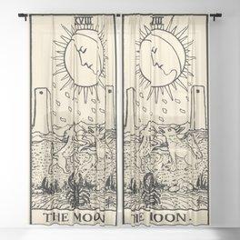 XVIII. The Moon Tarot Card on Parchment Sheer Curtain