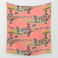crocodile Wall Tapestries featuring crocodile coral by Sharon Turner