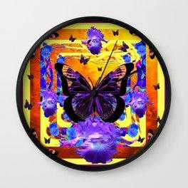 Surreal Black Butterflies Lilac Iris Flowers Art Wall Clock