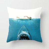 shark Throw Pillows featuring Shark by Maioriz Home