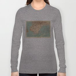Vintage Map of Jamaica Bay and Brooklyn NY (1891) Long Sleeve T-shirt