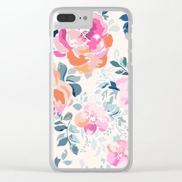 Floral Soft Pink Watercolor phone case Clear iPhone Case