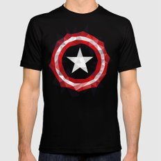 Meduzzle: Capitan's America Geometry Black Mens Fitted Tee X-LARGE