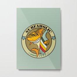 Surfaholic tiger shark Metal Print