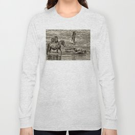 Horses taking a bath and relaxing Long Sleeve T-shirt