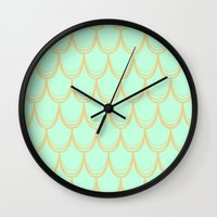 mermaid Wall Clocks featuring Mermaid  by Aneela Rashid