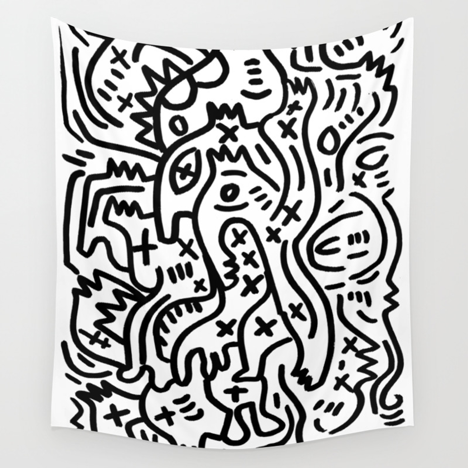 Graffiti street art black and white wall tapestry by emmanuelsignorino society6