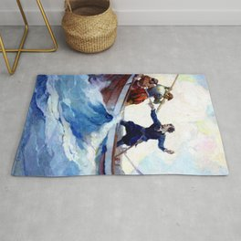"""""""A Pretty Fight"""" Pirate Art by Frank Schoonover Rug"""