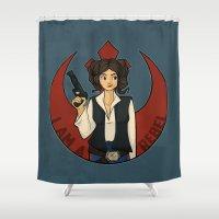 rebel Shower Curtains featuring Rebel Girl by Karen Hallion Illustrations