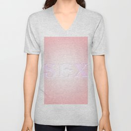 The word sex on a pink background. Unisex V-Neck
