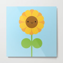 Kawaii Sunflower Metal Print