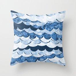 Abstract Blue Sea Waves Design Throw Pillow
