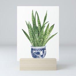 Sansevieria Painting, chinese vase Mini Art Print