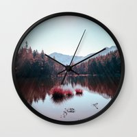 buddhism Wall Clocks featuring Winter Lake by Schwebewesen • Romina Lutz