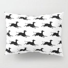Greyhounds Pattern in Black Pillow Sham