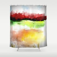 oasis Shower Curtains featuring Golden Oasis by Jessielee