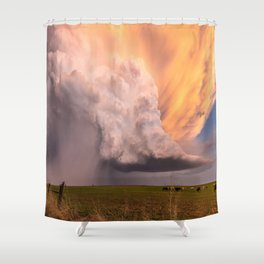 Storm Runner - Thunderstorm in Golden Light Over Kansas Landscape Shower Curtain