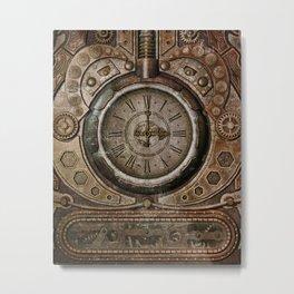 Brown Grunge Vintage Steampunk Clock Metal Print