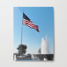 The Flag and the Fountain Metal Print