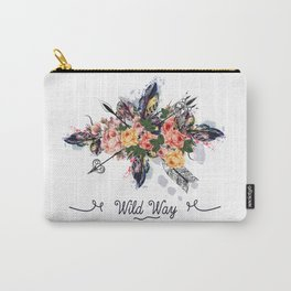 Art boho design with arrows, feathers and flowers. Wild way Carry-All Pouch