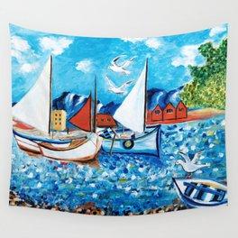 Sailboats Wall Tapestry