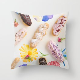 Eclairs with toppings Throw Pillow