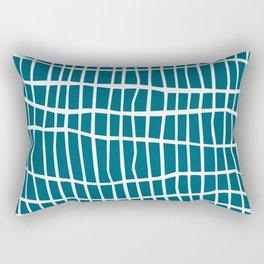 Net White on Blue Rectangular Pillow