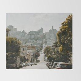 Uphill Street in San Francisco Throw Blanket