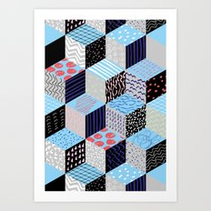geo cube pattern Art Print