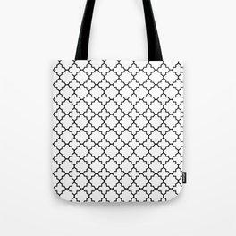 Black Quatrefoil - Baby Stimulation Pattern Tote Bag