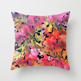 Midnight Magenta Garden Throw Pillow