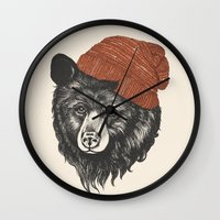 bear Wall Clocks featuring zissou the bear by Laura Graves