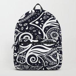 Paisley Doodle Art Boho Style Pattern - White and Navy Backpack
