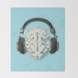 Mind Music Connection /3D render of human brain wearing headphones Throw Blanket