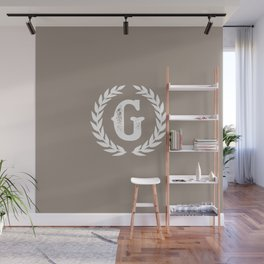 Beige Monogram: Letter G Wall Mural
