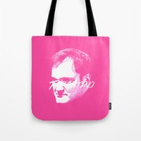 quentin tarantino Tote Bags featuring Tarantino by WeEatDesign