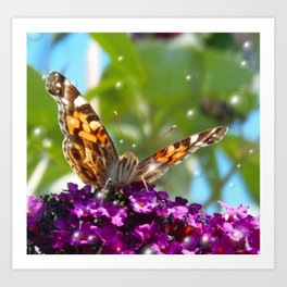 Small Butterfly with Bubbles  Art Print