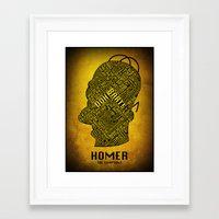 homer Framed Art Prints featuring Homer by Matthew Cridland