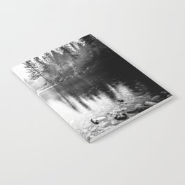 Forest Reflection Lake - Black and White  - Nature Photography Notebook