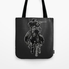 Rustic cowboy with rifle riding horse classic sketch Tote Bag